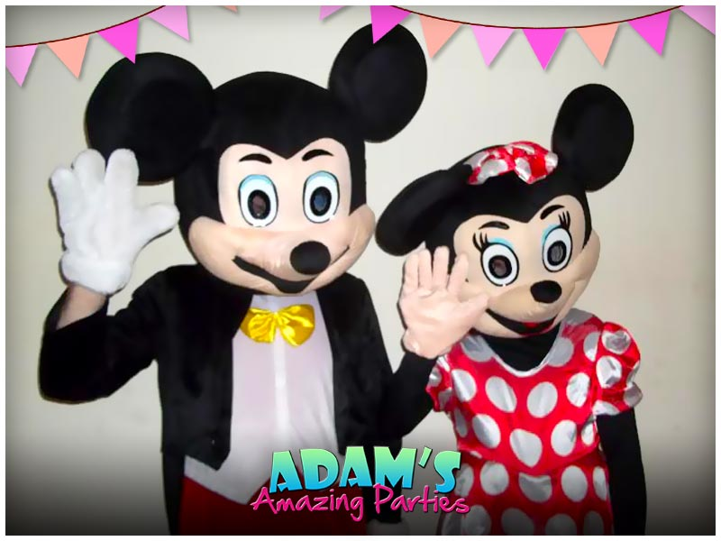 Mickey and Minnie Mouse at a birthday party